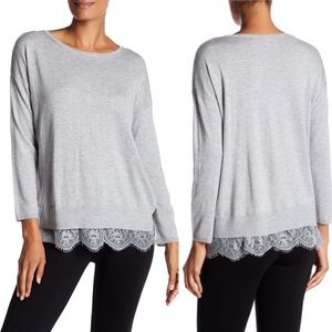 Joie Hilano Lace Sweater light gray size small